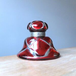 ANTIQUE CRANBERRY FLASHCUT MERCURY GLASS INKWELL Victorian Varnish Glass Bottle