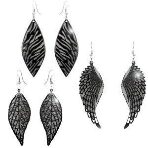 Black Glitter Sparkle Sequin Metal Mesh Layer Party Drop Dangle Hook Earrings.