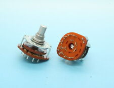 2 x Alpha 1 Pole 8 Position 1P8T Rotary Switch 15mm D Shaft PC Mount