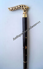 Solid Brass Designer Handle Nautical Handmade Black Wooden Walking Stick 36""
