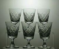 TUDOR CRYSTAL CUT GLASS SMALL WINE/SHERRY PORT GLASSES SET OF 6