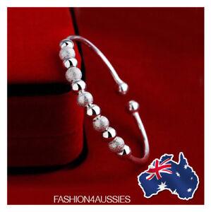 925 Sterling Silver Class ~ Stunning ~ Women's Adjustable Bangle Beads Ball