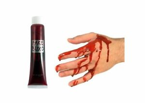Fake Blood Halloween Red Vampire Zombie Make Up Fancy Dress Gory Wound Horror