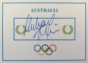 Michael Klim, SIGNED Olympic Games card. Sydney GOLD. Australia swimming. Phelps