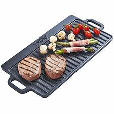 Non-Stick Cast Iron Reversible Griddle Plate Induction BBQ Party Cooker Grill