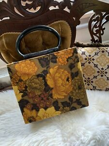 Vintage 1970s Brown & Orange Large Floral Box Tote Bag