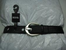 MICHAEL Kors Genuine Leather Belt 551632 Black Silver Horseshoe Buckle Womens S