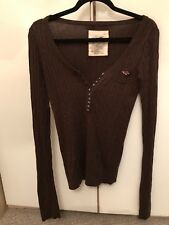 women's Hollister brown warm top size large (UK 12-14)