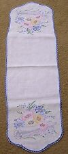 Vintage Embroidered Table Runner Pastel Daisies and Scroll