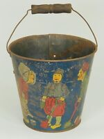 Antique T Bros Tin Litho Sand Pail Dutch Holland Windmill Wood Handle Vintage