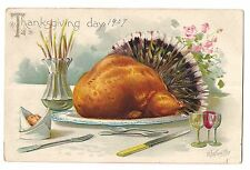 TUCK'S THANKSGIVING DAY Turkey Feathers R J. Wealthy Postcard Embossed 1907