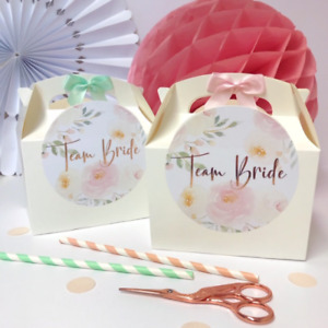 Hen Party Gift Box | PEONY TEAM BRIDE | Rose Gold Foil Party Favour Bag