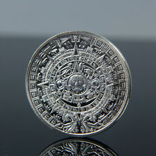 Sliver Plated Aztec Mayan Calendar Commemorative Coin Souvenir Collection FA