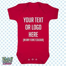 Custom Personalised BABY GROW Body Suit Sleep Vest Romper Gift-Choose text/logo2