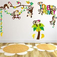 Cheeky Monkey Tree Removable Wall Stickers Vinyl Decal Kids Baby Nursery Decor