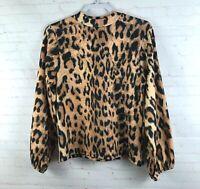 Zara TRF Women's Size S Leopard Print Shirt Top Balloon Sleeve