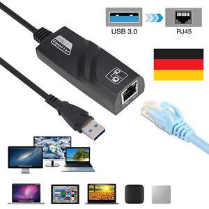 Gigabit Ethernet LAN USB 3.0 auf RJ45 Adapter Netzwerkadapter 10/100/1000Mbps