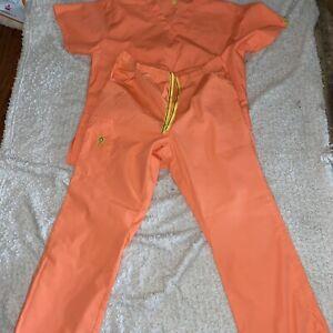 wonderwink scrub set orange size l