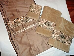 CROSCILL MOSAIC TILES JAVA BROWN EMBROIDERED (4P) SHOWER CURTAIN & TOWELS SET