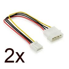 "2x  5.25"" 4 Pin Molex To 3.5"" Floppy Drive FDD Internal Power Cable Adapter"