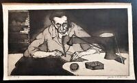 """ETCHING TITLED """"MAN SEWING"""" ARTIST SIGNED JACK BILANDER"""