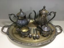 Victorian Rose by Wm Rogers Silverplate Coffee & Tea Service w/Tray 5 Piece Set