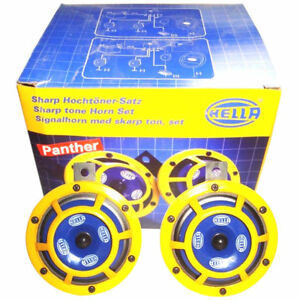Hella 12v Sharptone Dual Car Yellow Panther Horn Set For Benz, Bmw