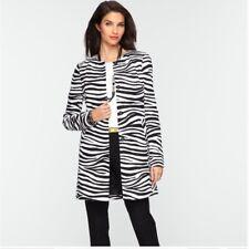 NEW Talbot's Zebra Print Long Jacket w/ Hidden Snaps - 14