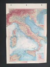 Map Of Italy Sicily Corsica Vintage 1967