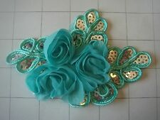 "Seafoam Green Flower and Sequins Braided Applique 4 1/2"" by 3 1/4"""