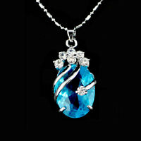 Korean Style Womens Light Blue Silver Crystal Rhinestone Pendant Chain Necklace