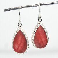 925 Sterling Silver Rhodochrosite Gemstone Earrings 6.14 gms Jewelry CCI