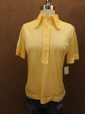 Sporty Yellow Peek-a-boo Arnel Knit Summer Polo Shirt Top Vtg 60s NOS NEW Sz S