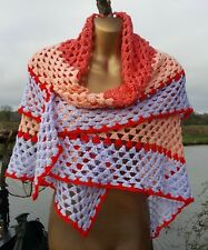 """Hand Made Colourful Crochet Shawl/Blanket 45"""" Square"""