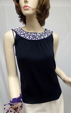 St John Knit COLLECTION NWOT Black White Beaded Stud Top SIZE M 8 10