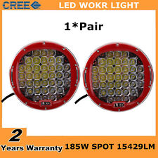 2X 9inch 185W CREE Round Spot LED Driving Work Light Offroad JEEP 4WD Bumper Red
