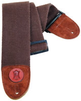 """Levy's MSSC4-BRN 3"""" Heavy-Weight Cotton w/ Suede Ends Guitar/Bass Strap - Brown"""
