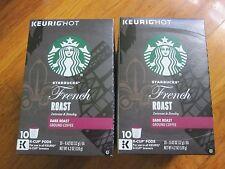 TWO PACKS FRENCH ROAST DARK COFFEE KEURIG OF(STARBUCKS) 10 K-CUPS OF EACH,TOTAL