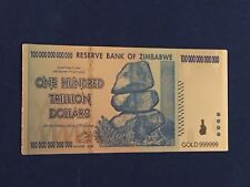 ONE  Zimbabwe 100 Trillion Dollar Banknote Gold Plated Bill/Not Blue Paper Money