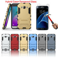 Armor Hybrid Case + Tempered Glass Screen Protector For Samsung Galaxy J3 2015