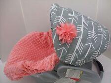Arrows print canopy & coral/peach minky infant slip cover/Graco&custom size