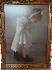 Gemälde Druck Mädchen steigt in Großmutters Schuhe TOP