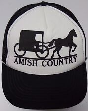 Vintage 1980s AMISH COUNTRY HORSE BUGGY BLACK WHITE Advertising SNAPBACK HAT CAP