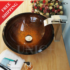 Beautiful handpainted Bathroom Glass Vessel Sink Powder Room Sink Bowl, BVG001