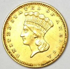 1856 Indian Gold Dollar Coin (G$1) - AU Details  - Rare Coin!