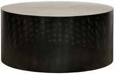 """40"""" W Winston Coffee Table Round Perforated Black Metal Modern Contemporary"""