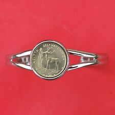 1970 Vatican 20 Lire BU Unc Coin Silver Plated Cuff Bracelet NEW - Red Deer