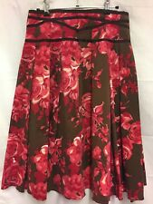 Skirt, Brown - pink roses size 10, The Works, Excellent Condition
