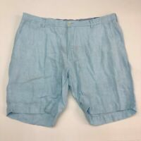 Polo Ralph Lauren Chino Shorts Mens 40 Blue Flat Front 100% Linen Classic Fit