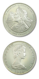Gibraltar 80th Birthday of Queen Mother 1980 One Proof Silver Crown